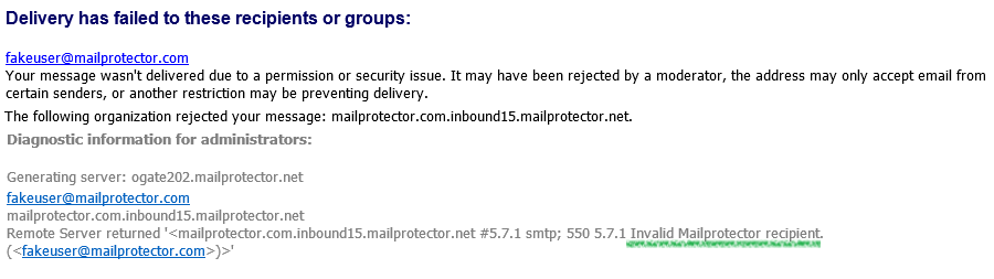 Invalid Mailprotector Sender/Recipient – Mailprotector Help Center
